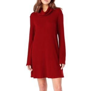 Michael Stars Cowl Neck Sweater Dress Ribbed Red